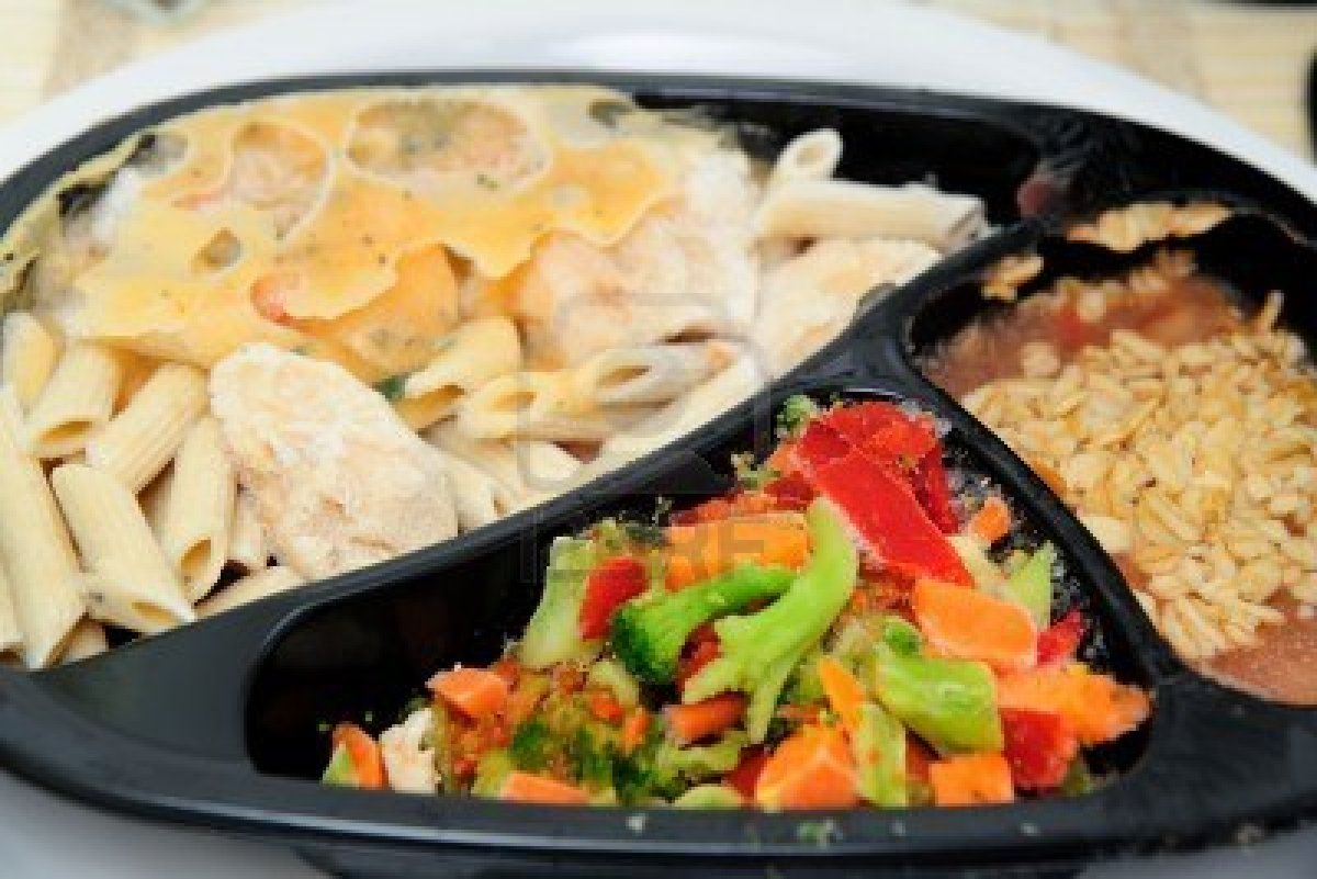 5823318-instant-frozen-microwave-dinner-with-pasta-and-chicken-a-side-of-vegetables-and-dessert