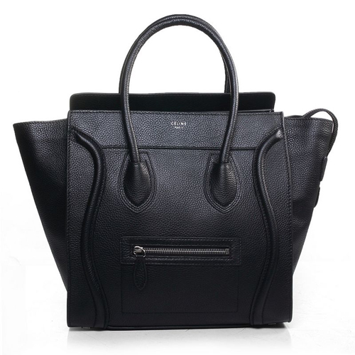 Celine_Black_Pebbled_Leather_Mini_Luggage_Tote_Bag