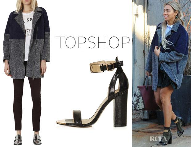 Beyonce-Knowles-Topshop-Two-Tone-Textured-Coat-And-Topshop-Rhodium-Metal-Trim-Heels