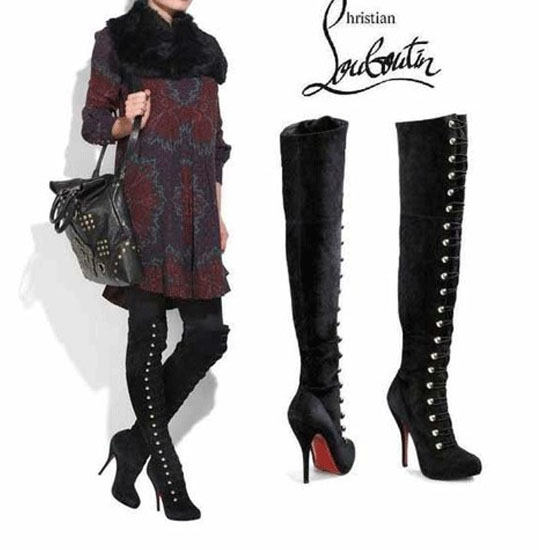 Christian-Louboutin-Boots-Button-Up-Over-The-Knee-Black-Red-Sole-Shoes-415_3