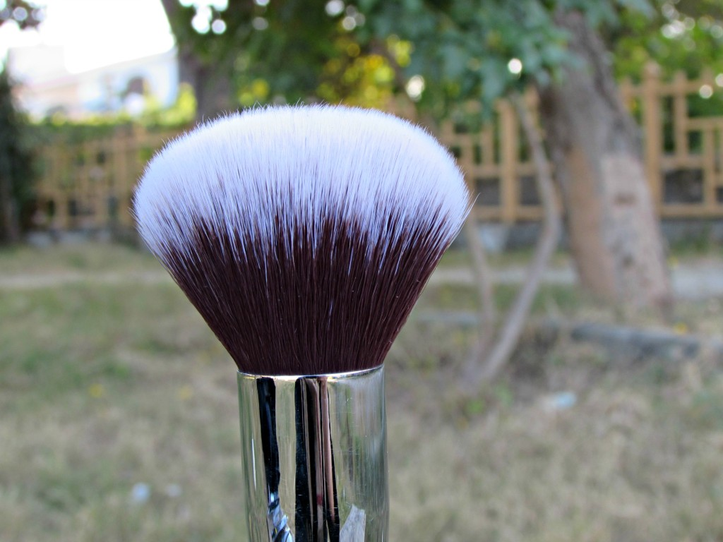 powder face brush close up